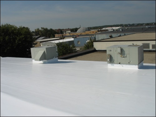 Industrial roofing contractors installed this industrial flat roof system in Watertown Wisconsin