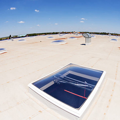 industrial flat roof in Wisconsin with skylights